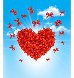 Valentines heart made of red bows vector image vector image