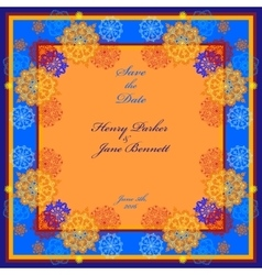 Winter wedding frame with orange and blue vector