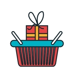 Basket shopping with gift icon vector