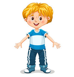 Cute little boy is doing exercises vector