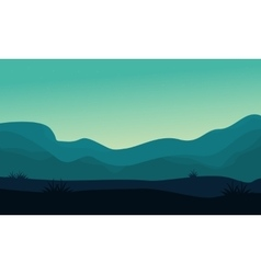 Silhouette of hill and fog scenery vector