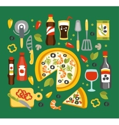 Pizza preparation and eating elements italian vector