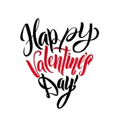 Happy valentines day lettering greeting card heart vector