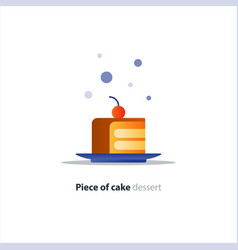 Slice of layered cake on dish tasty dessert vector