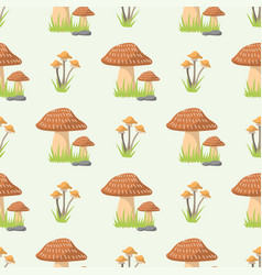 mushrooms seamless pattern different types of vector image