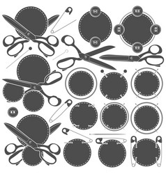 Set of signs with sewing accessories vector