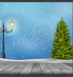 Christmas tree and lamp post on winter background vector