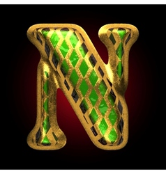 Golden and green letter n vector
