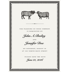 Vintage sheep and ram wedding invite vector image