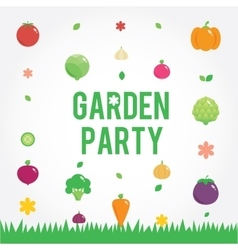Garden party poster with vegetables icons set vector
