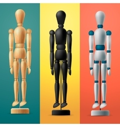 Artists wooden dummy on colorful background vector