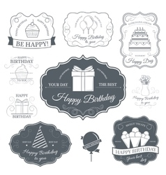 Happy birthday set label template of emblem vector