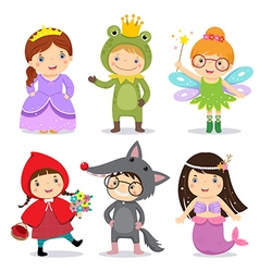 Set of kids wearing in fairy tale theme vector