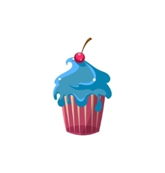 Cute cupcake with blue icing vector