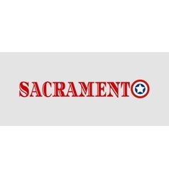 Sacramento city name with flag colors vector