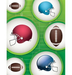 American Football Helmets and Balls vector image