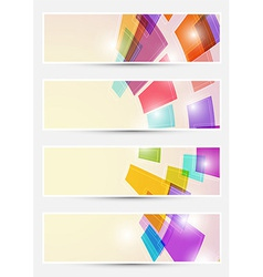 Bright square fly cards collections vector