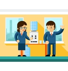 Business people near water cooler vector