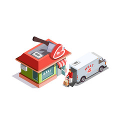 Butcher shop isometric composition vector