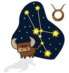 Cartoon Zodiac of a Taurus with a rectangular face vector image