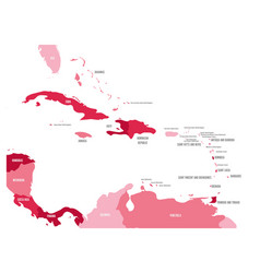 Central america and caribbean states political map vector
