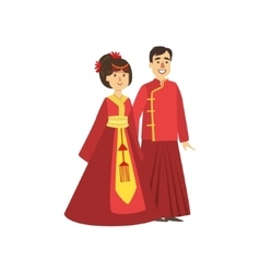 Couple in chinese national clothes vector
