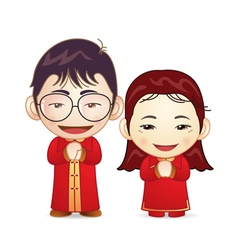 Couple in chinese wedding dress vector
