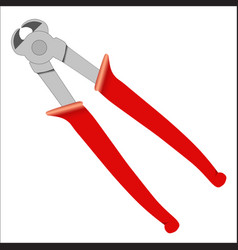 Cutting pliers with red handle - hand tools vector