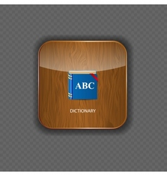 Dictionary wood application icons vector