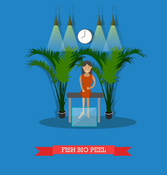 Fish spa therapy concept vector