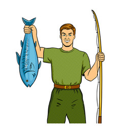fisherman with fishing rod and fish pop art vector image