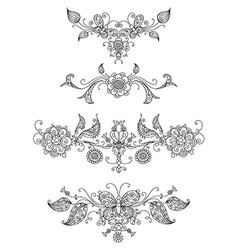 Floral page dividers and decorations vector