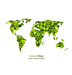 Green mosaic world map vector image vector image