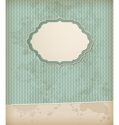 Green striped vintage background with label vector