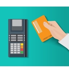 Hand holding credit card and using pos terminal vector