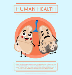 Human health poster with lung character vector
