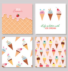 Ice cream cute cards and seamless pattern set vector