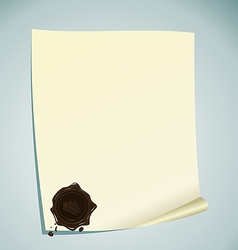 Illustration of paper with brown wax sealing vector