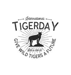 International tiger day emblem wild animal badge vector