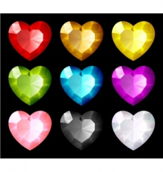 Jewel hearts set vector