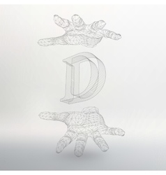 Letter d and hand of lines vector