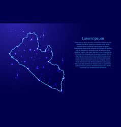 map liberia from the contours network blue vector image