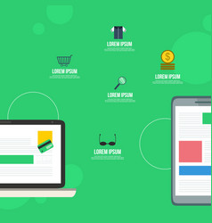 mobile marketing style on green background vector image