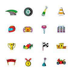 race icons set cartoon vector image vector image