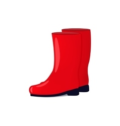 red color rubber boots vector image