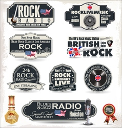 Rock radio stamps and labels vector