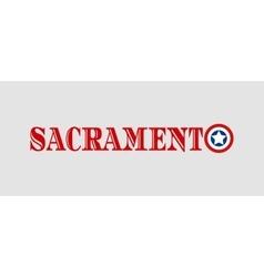 Sacramento city name with flag colors vector
