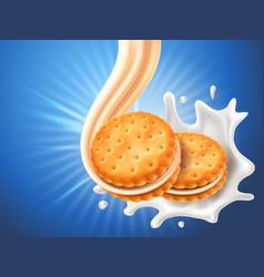 sandwich cookies with delicious vanilla cream flow vector image