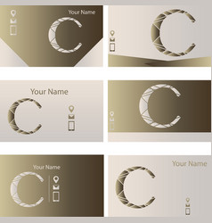 set of six business cards with logo letter c vector image