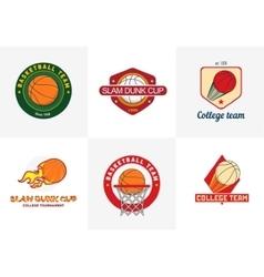 Set of vintage color basketball championship logos vector